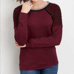 Maurice's Maroon Sweatshirt Top SM